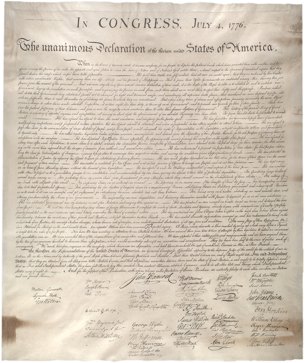 Stone facsimile of the Declaration, created 1823. (GLC00154.02)