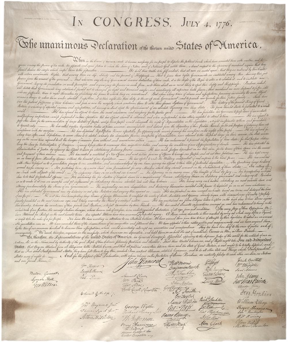 Stone facsimile of the Declaration, created 1823. (GLC00154.02)