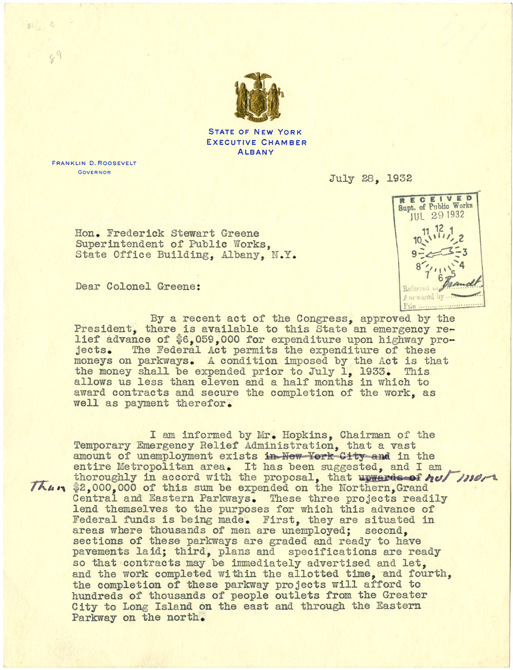 Franklin D. Roosevelt to Frederick S. Greene, July 28, 1932. (GLC00224)