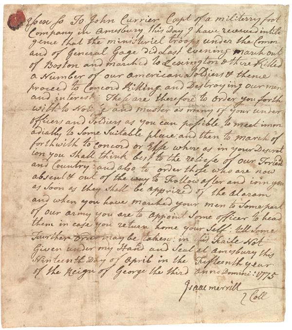 Isaac Merrill to John Currier, April 19, 1775 (GLC00303)