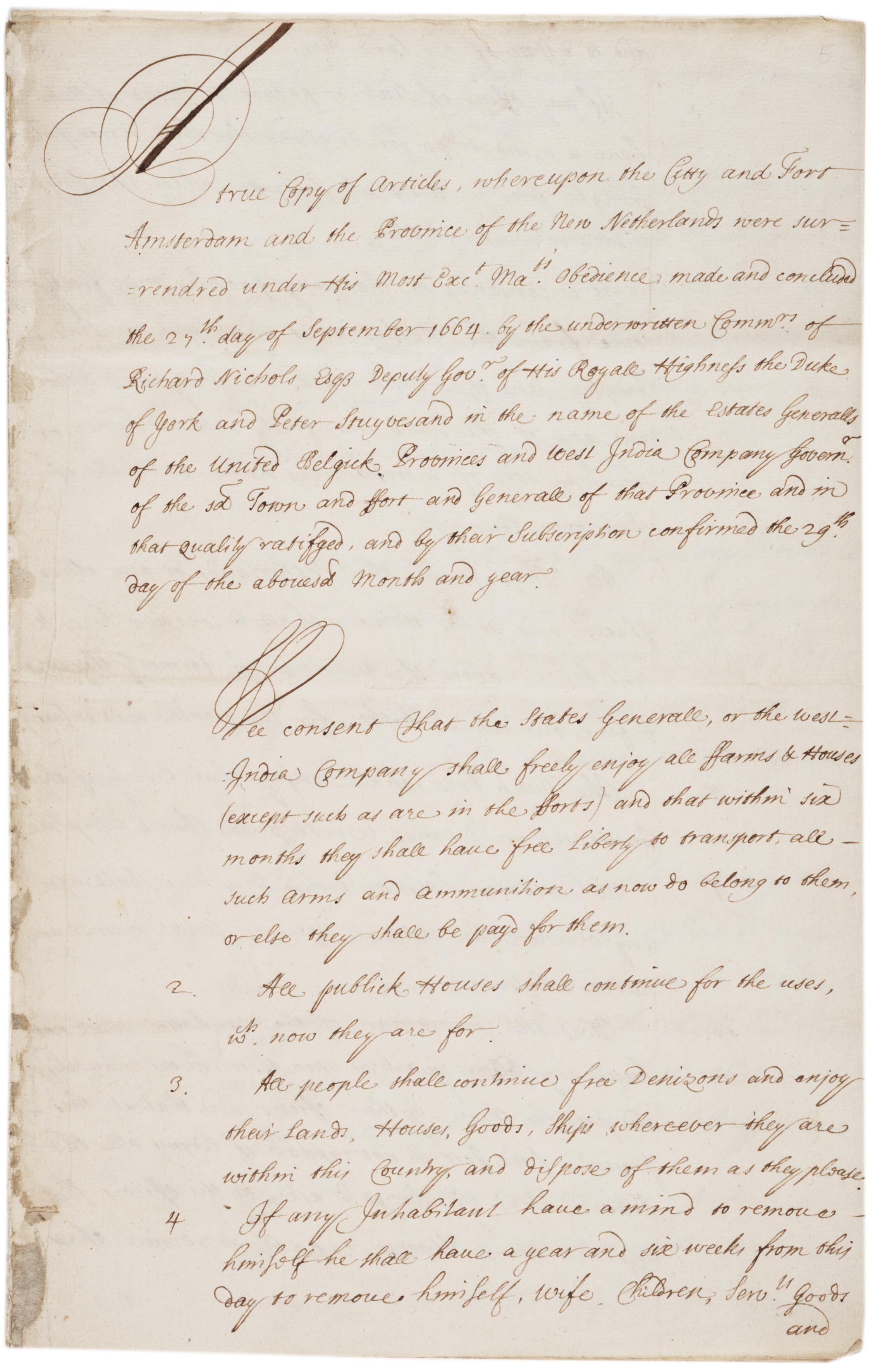 True copy of articles, whereupon ... the New Netherlands were surren