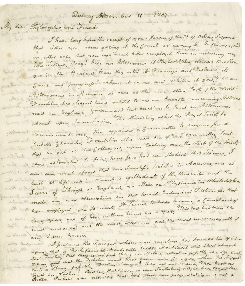 John Adams to Benjamin Rush, November 11, 1807. (GLC00424)