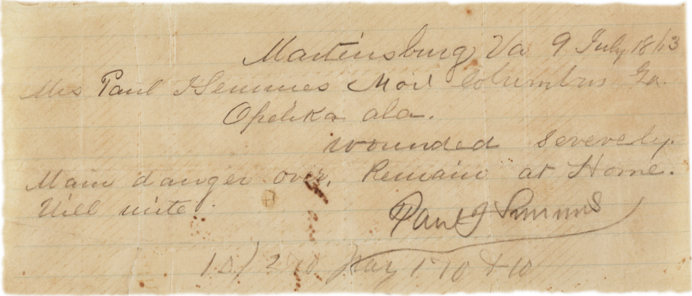 Paul Semmes to Emily Semmes, July 9, 1863. (GLC00458)
