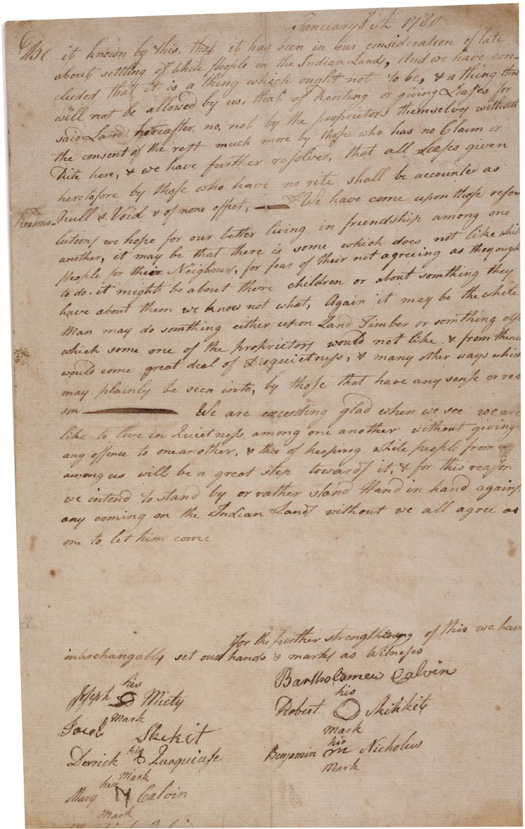 The Brotherton Indians' agreement to oppose white settlement, January 6, 1780.