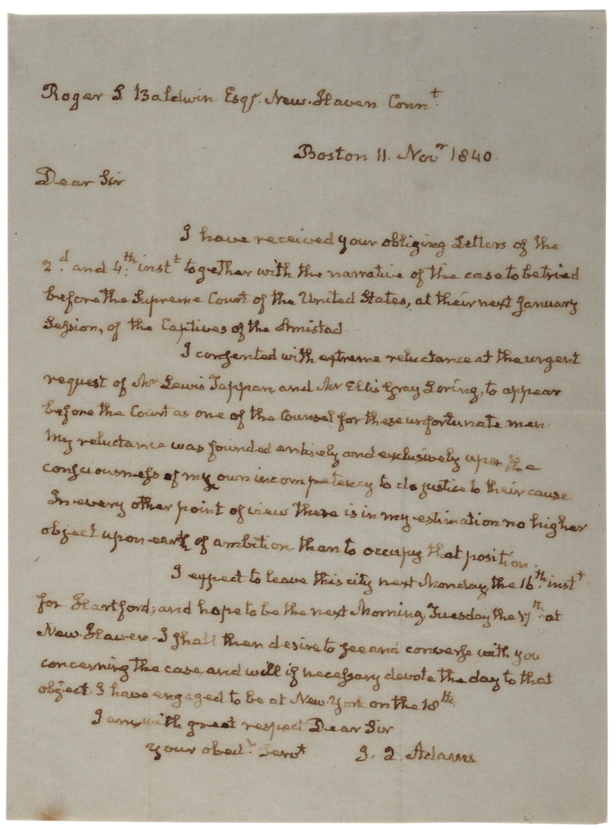 John Quincy Adams to Roger S. Baldwin, November 11, 1840 (Gilder Lehrman Co