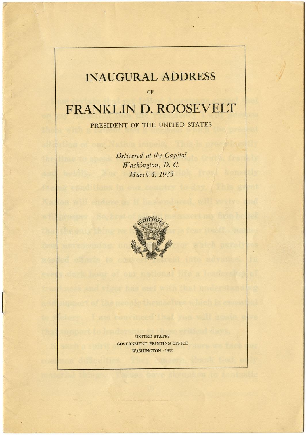 First Inaugural Address of Franklin D. Roosevelt, March 4, 1933. (GLC00675)
