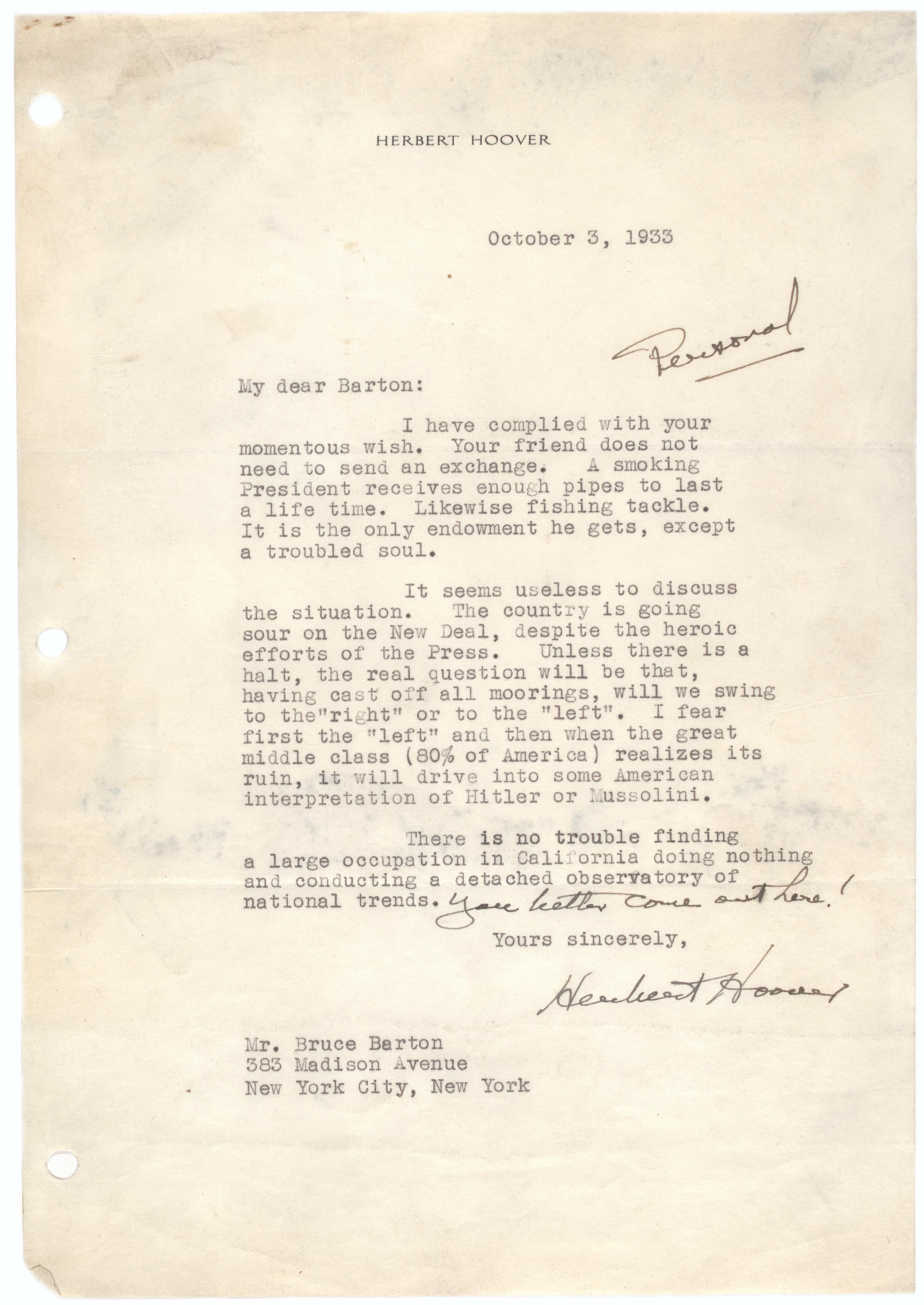 Herbert Hoover to Bruce Barton, October 3, 1933. (Gilder Lehrman Collection)