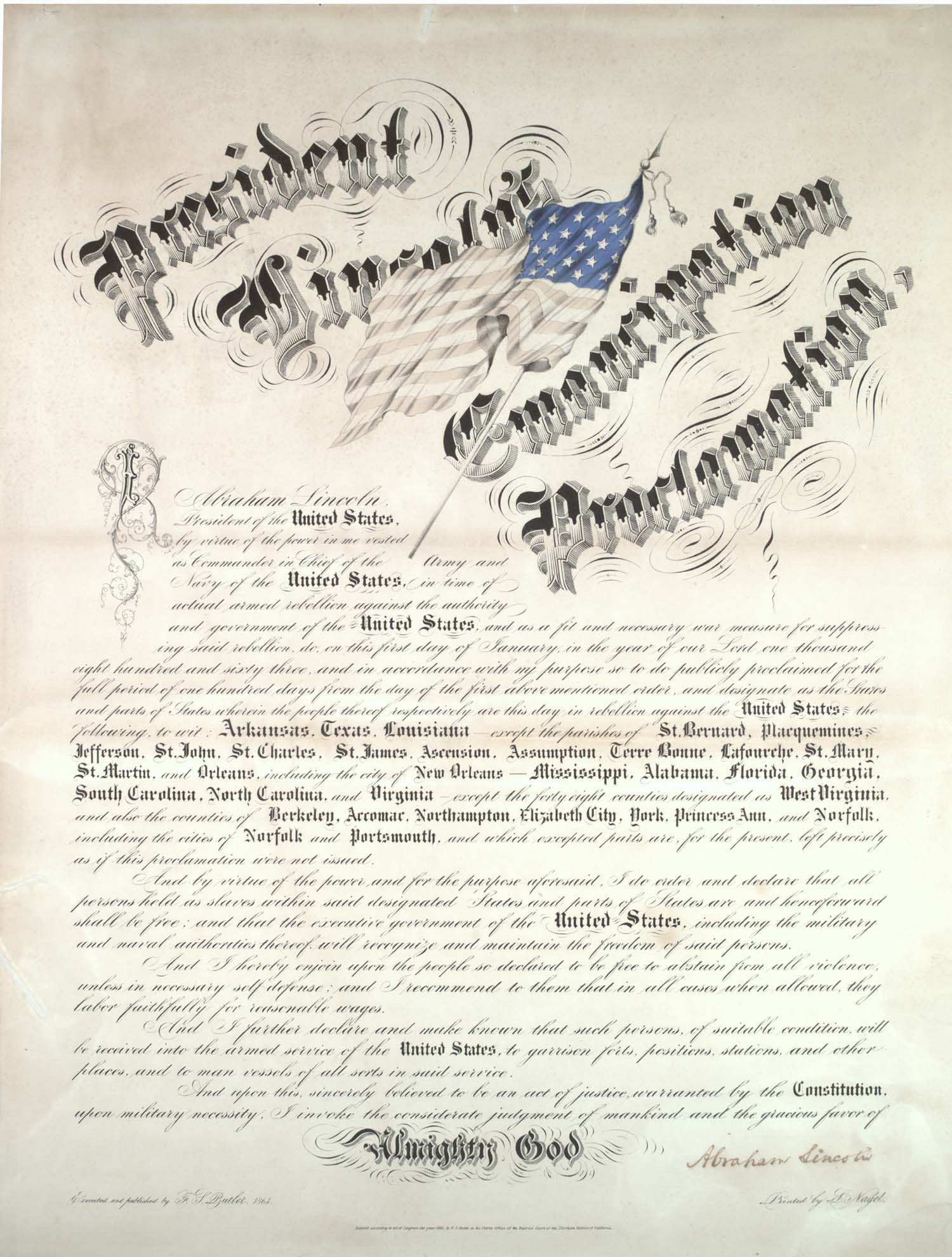 Emancipation Proclamation [California printing, Cheesman copy], January 1, 1863