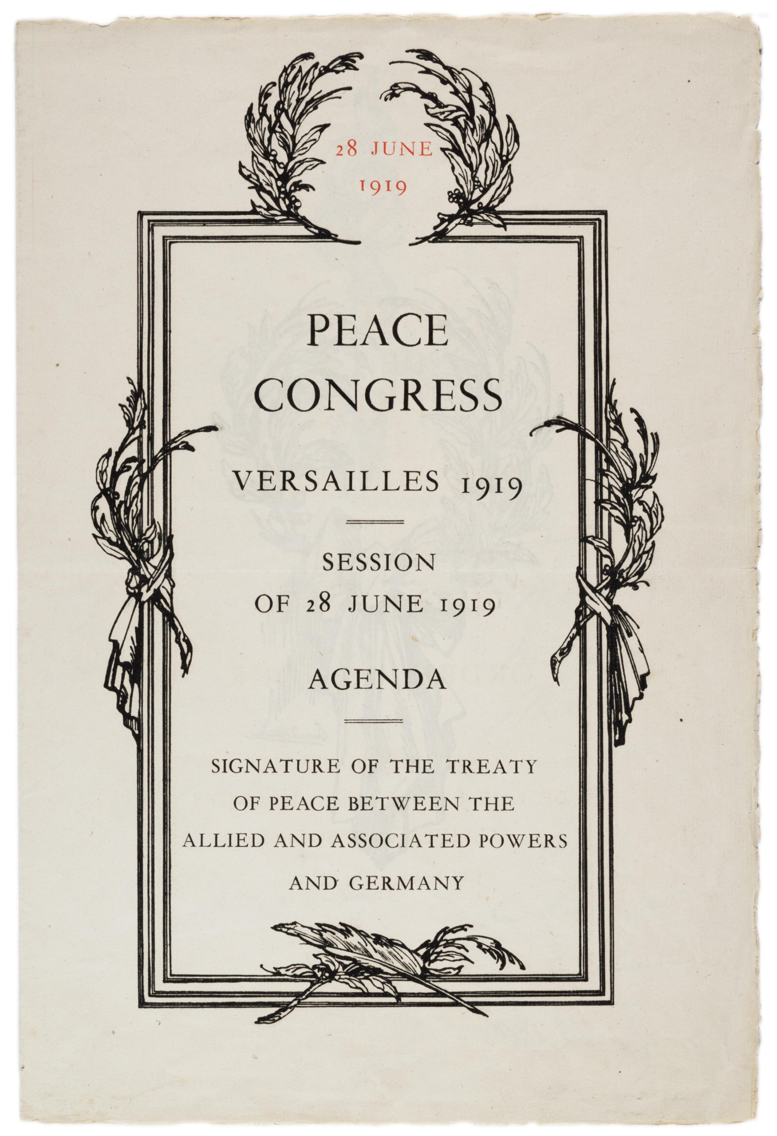 Peace Congress, Versailles 1919, Session of 28 June 1919: Agenda (GLC00752)
