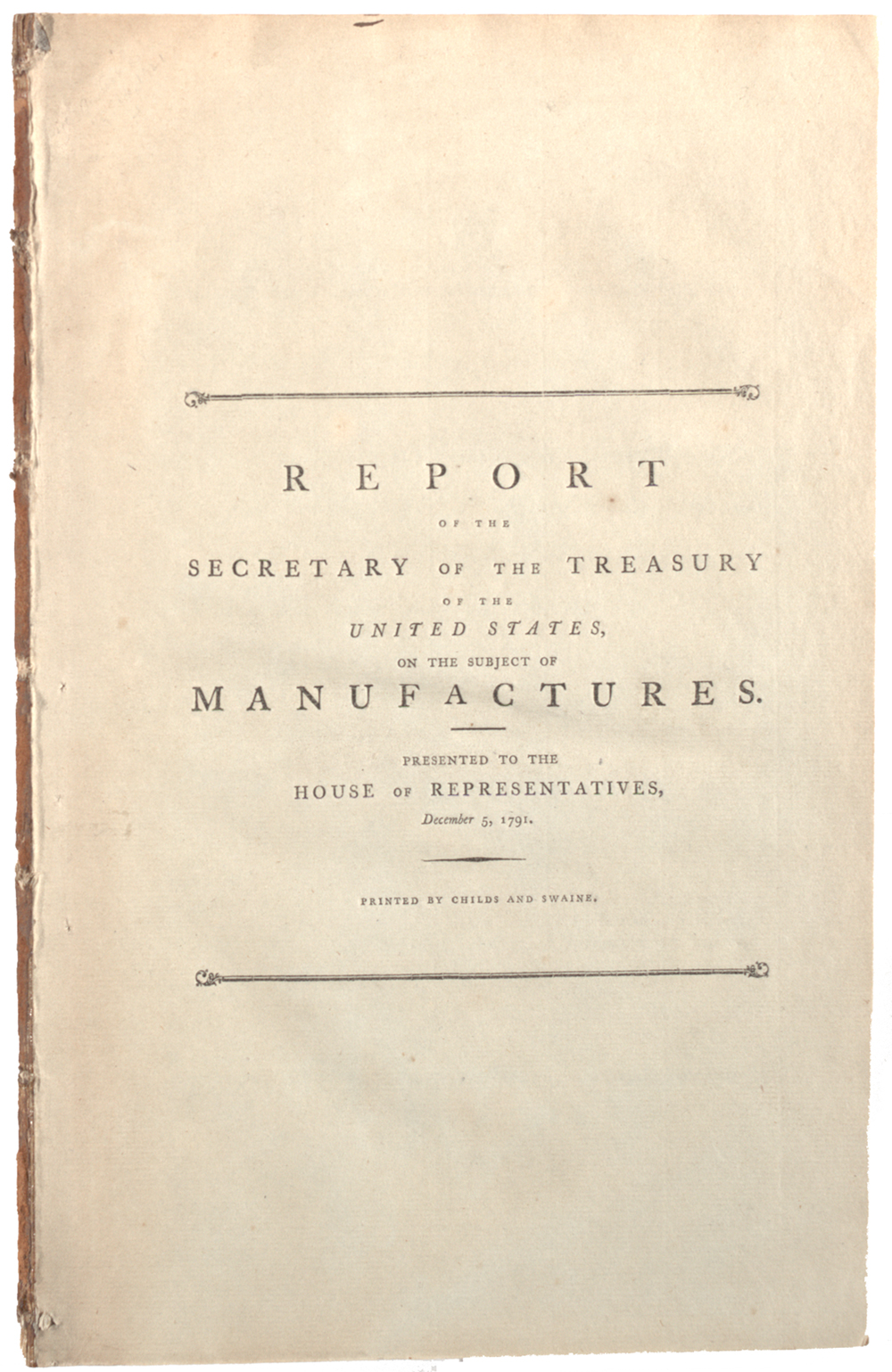 hamilton s report on the subject of manufactures the hamilton s report on the subject of manufactures dec 5 1791