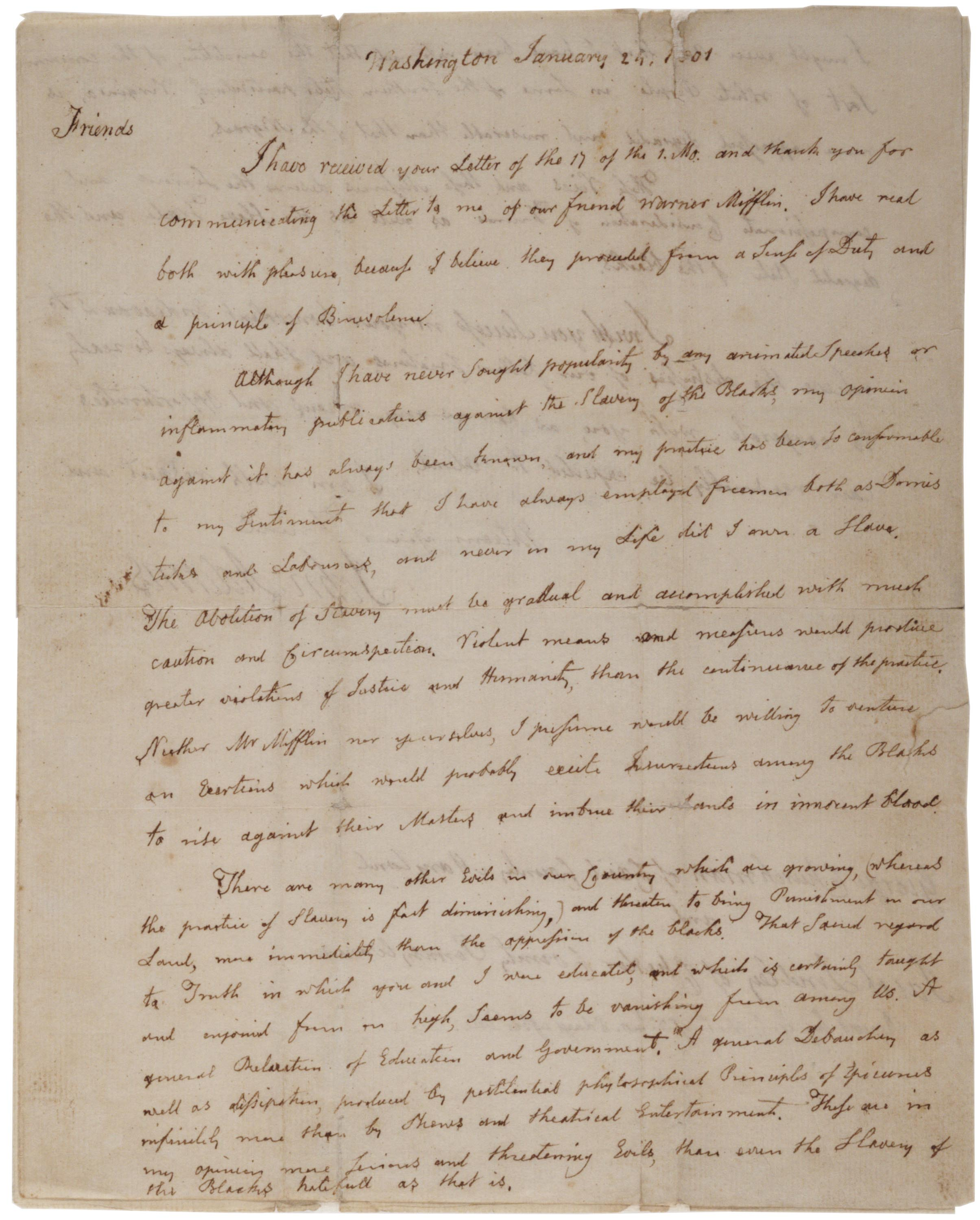 John Adams to George Churchman and Jacob Lindley, January 24, 1801. (Gilder Lehr