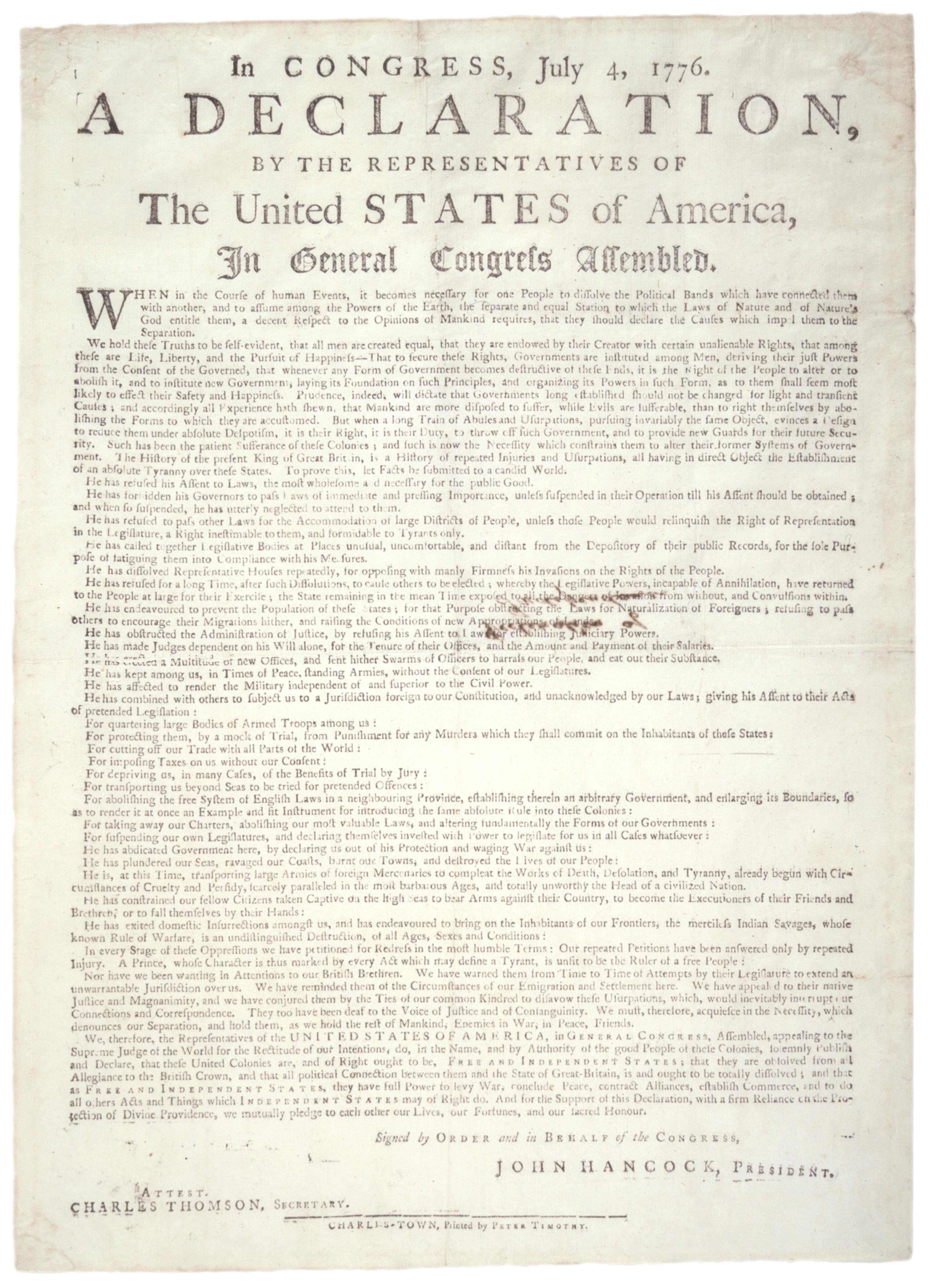 Declaration of Independence, Charleston, South Carolina, August 2, 1776. (Gilde