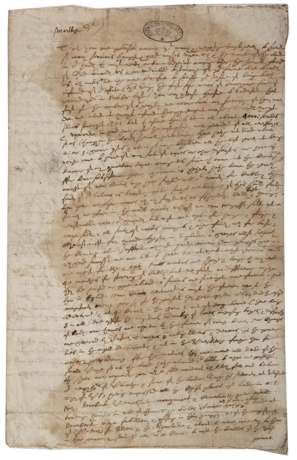 John Winthrop to Nathaniel Rich, May 22, 1634. (Gilder Lehrman Collection)