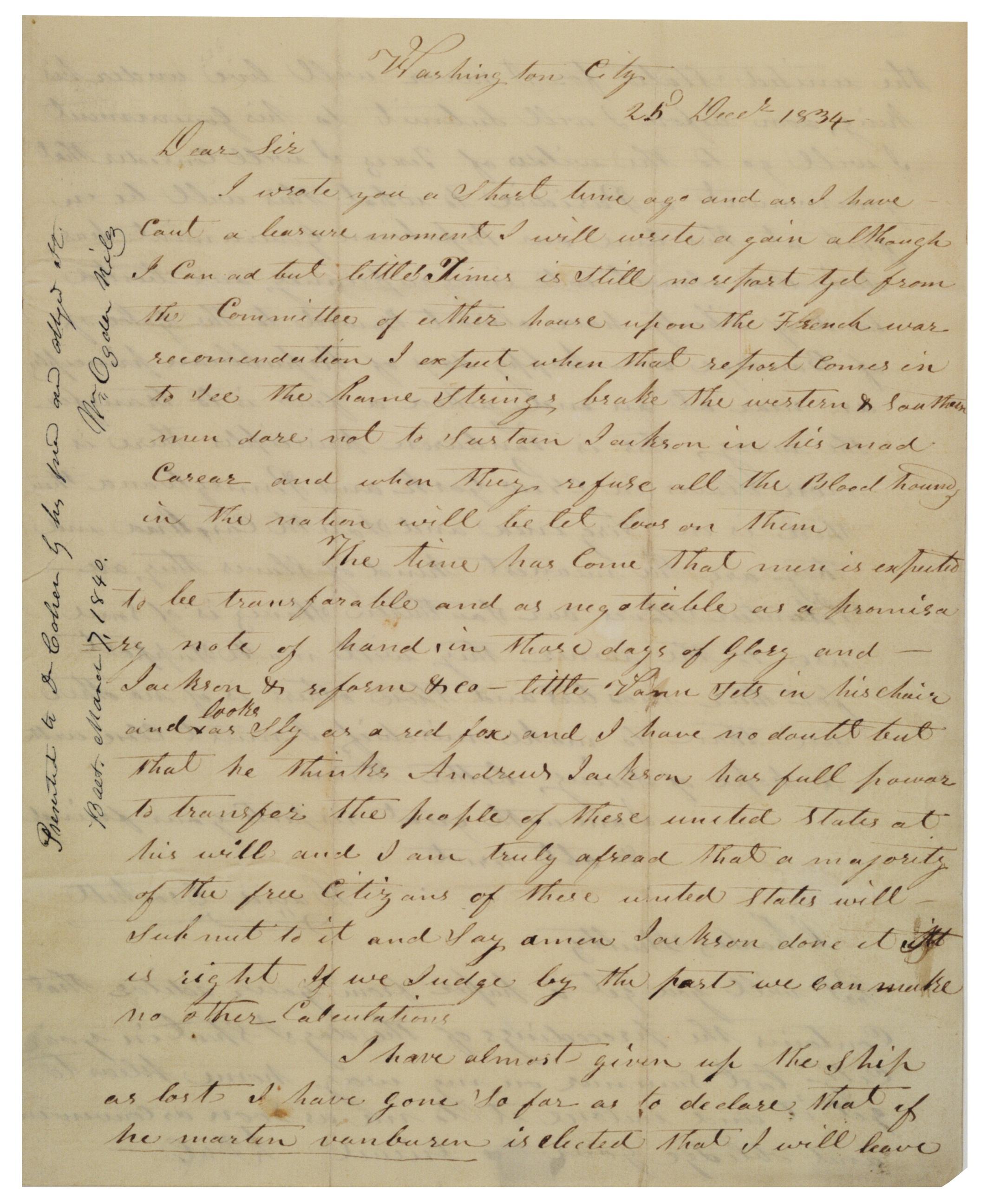 David Crockett to Charles Schultz, December 25, 1834 (Gilder Lehrman Collect