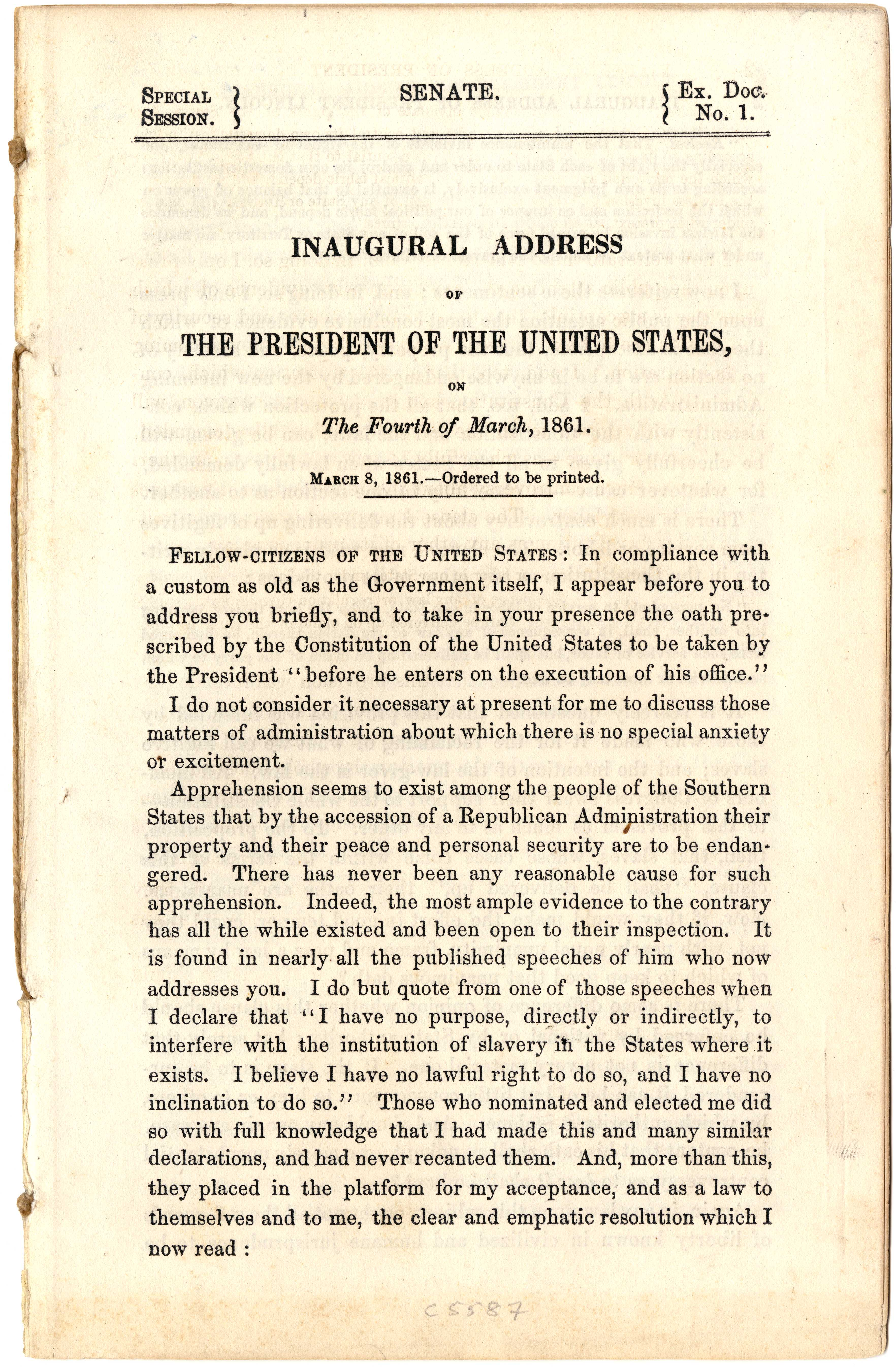 President Lincoln S First Inaugural Address 1861 The