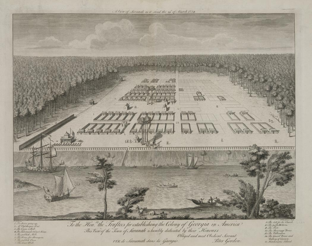 A view of Savanah [sic] as it stood the 29th of March, 1734, engraving by Pierre
