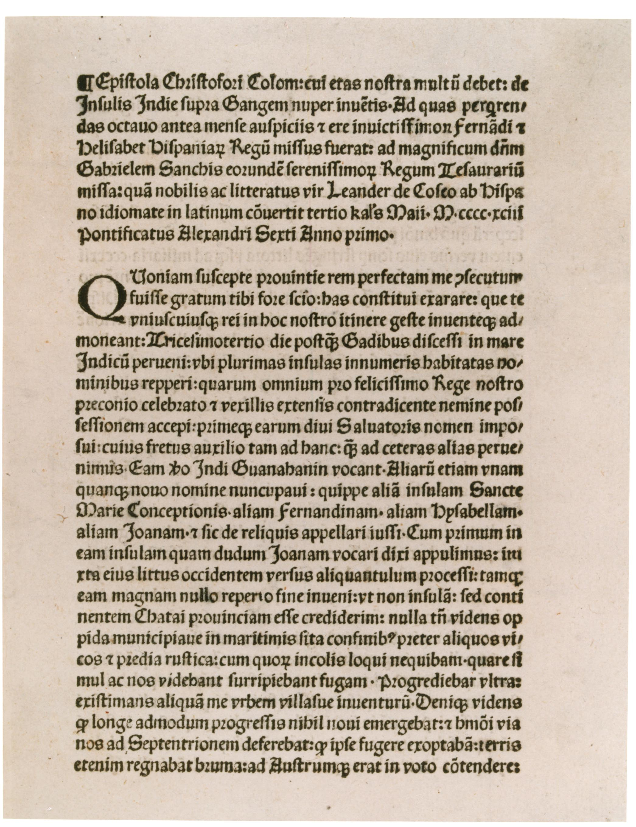 columbus reports on his first voyage 1493 the gilder lehrman christopher columbus s letter to ferdinand and isabella 1493 glc01427
