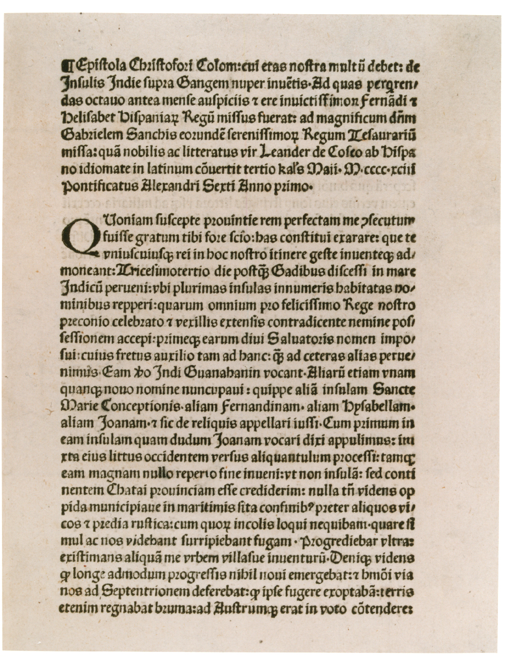 Columbus's letter printed in Latin in Rome, April 1493. (GLC01427)