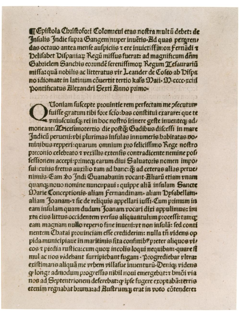 Columbus's letter printed in Latin in Rome, April 1493. (GLC01427)