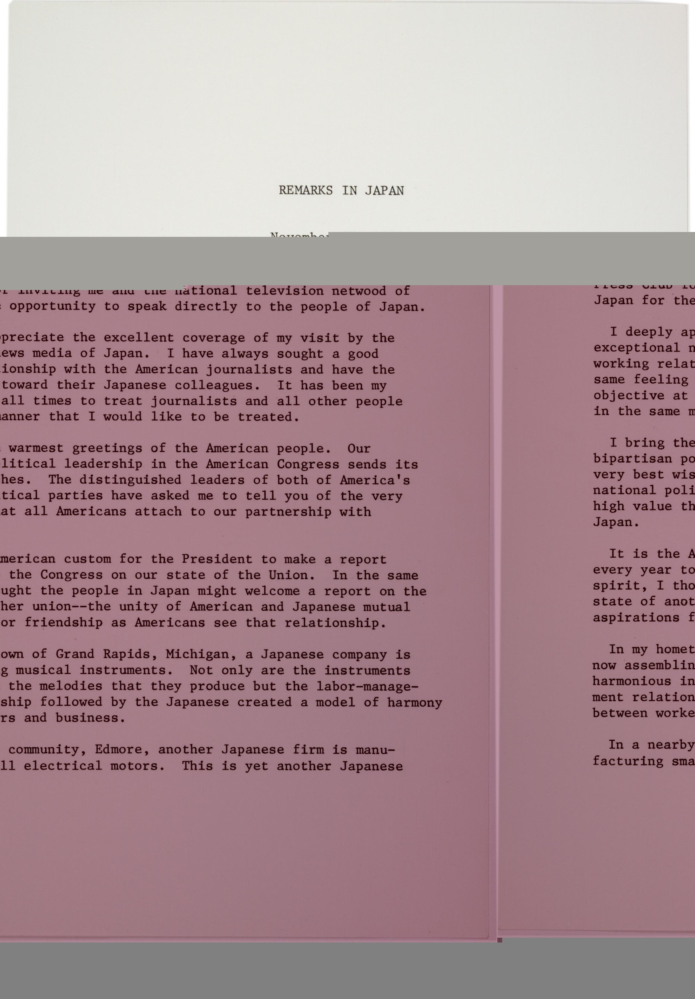 Gerald Ford's Remarks in Japan, November 20, 1974 (Gilder Lehrman Collection)