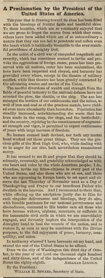 Abraham Lincoln's Thanksgiving Proclamation, Harper's Weekly, October 17, 1863.