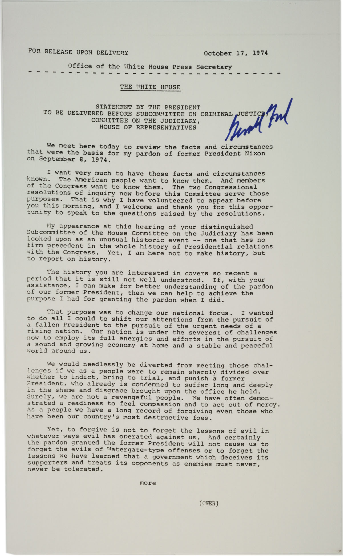 president ford s statement on pardoning richard nixon 1974 the gerald ford s statement before subcommittee on criminal justice regarding his pardon of nixon 17