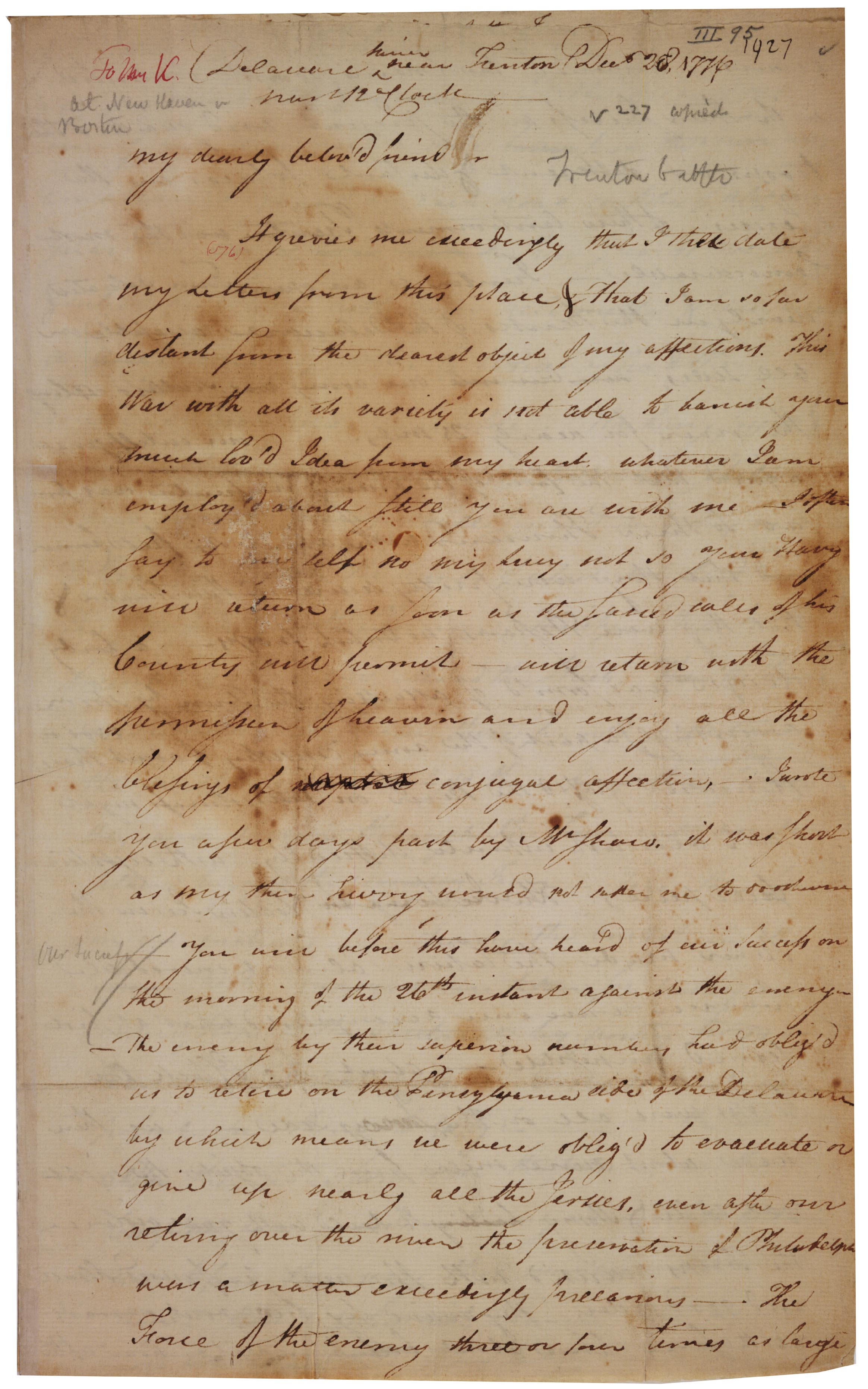 Henry Knox to Lucy Knox, December 28, 1776 (Gilder Lehrman Collection)