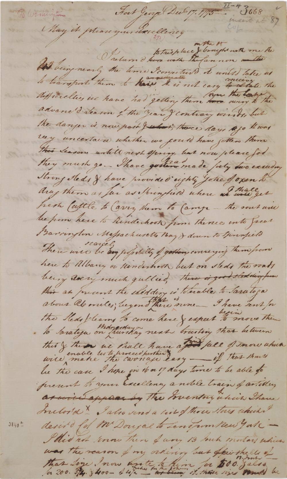 Henry Knox to George Washington, December 17, 1775 (GLC02437.00222)
