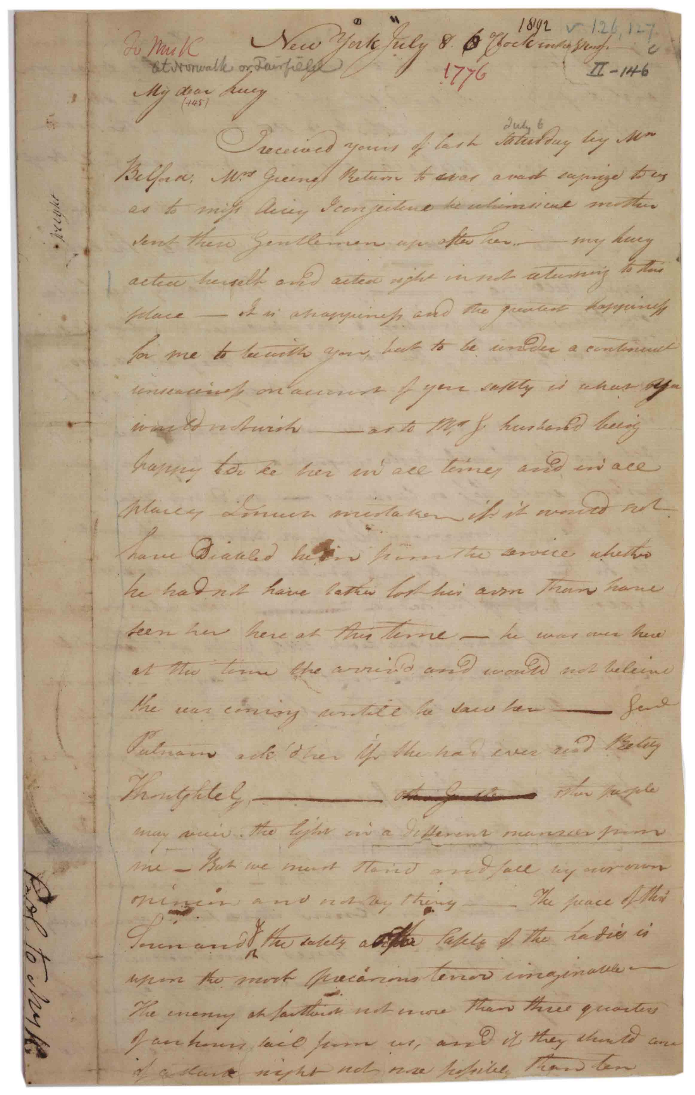 Henry Knox to Lucy Knox, July 8, 1776. (GLC02437.00363)