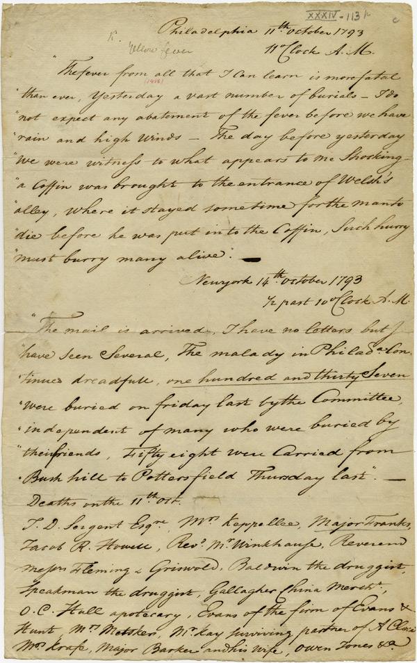 Account of the yellow fever outbreak in Philadelphia, October 11–14, 1793