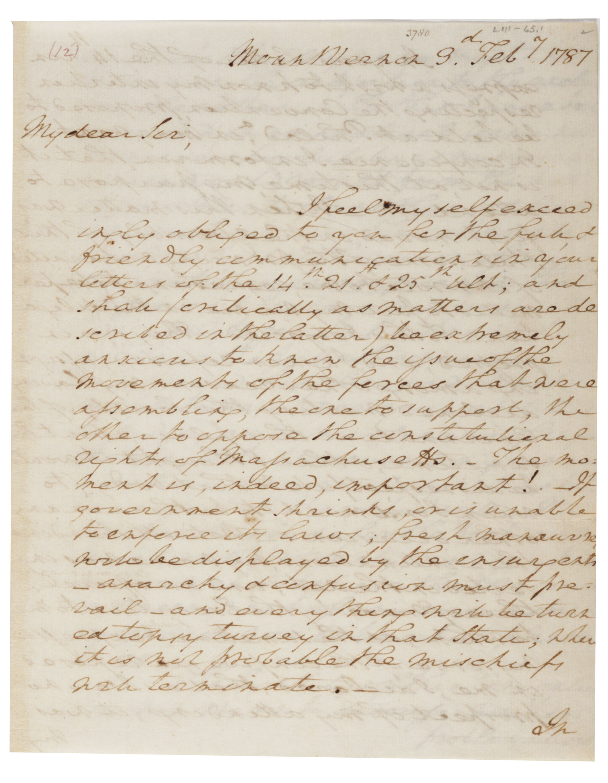 George Washington to Henry Knox, February 3, 1787. (Gilder Lehrman Collectio