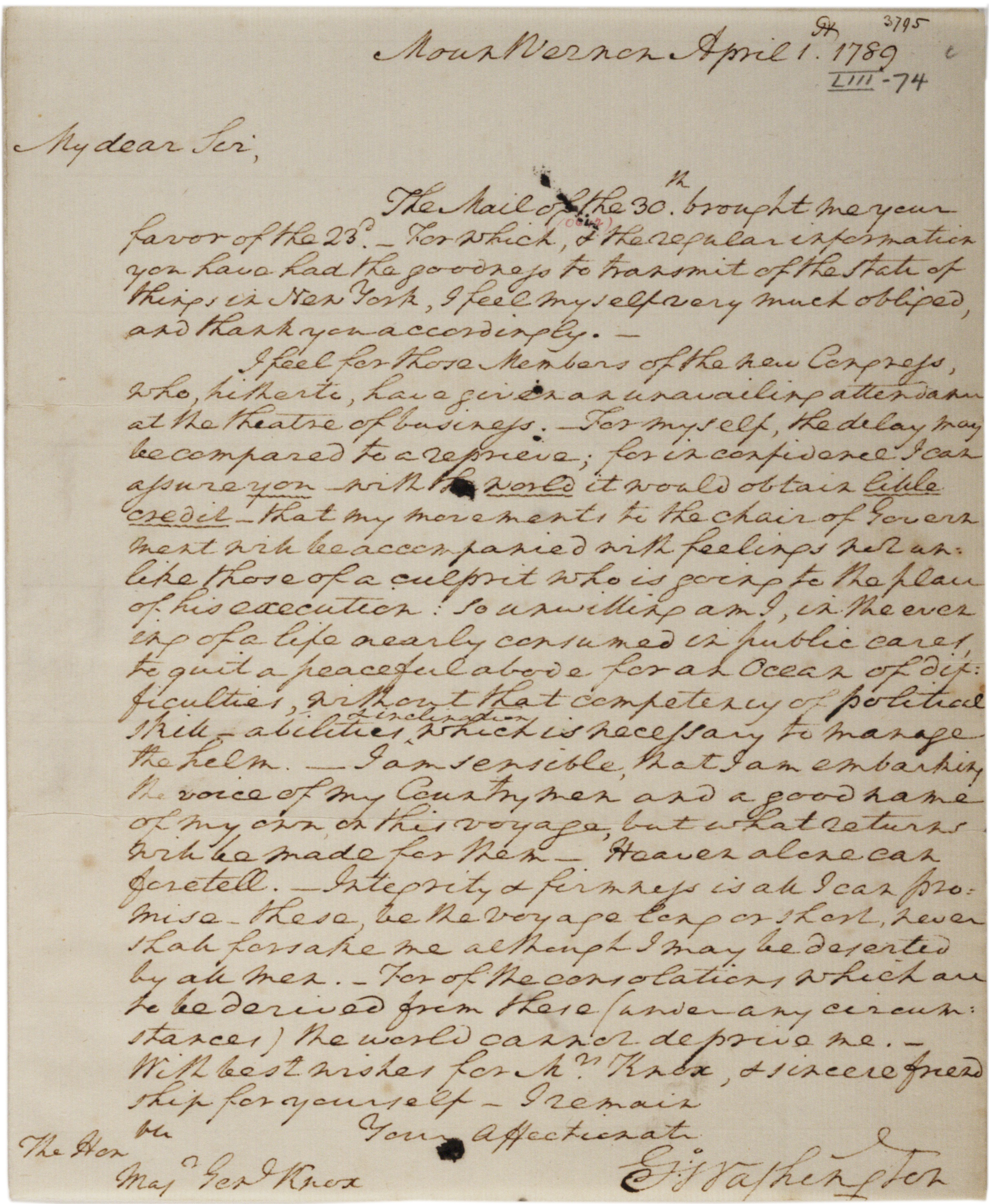 george washington s reluctance to become president 1789 the george washington to henry knox 1 1789 gilder lehrman collection