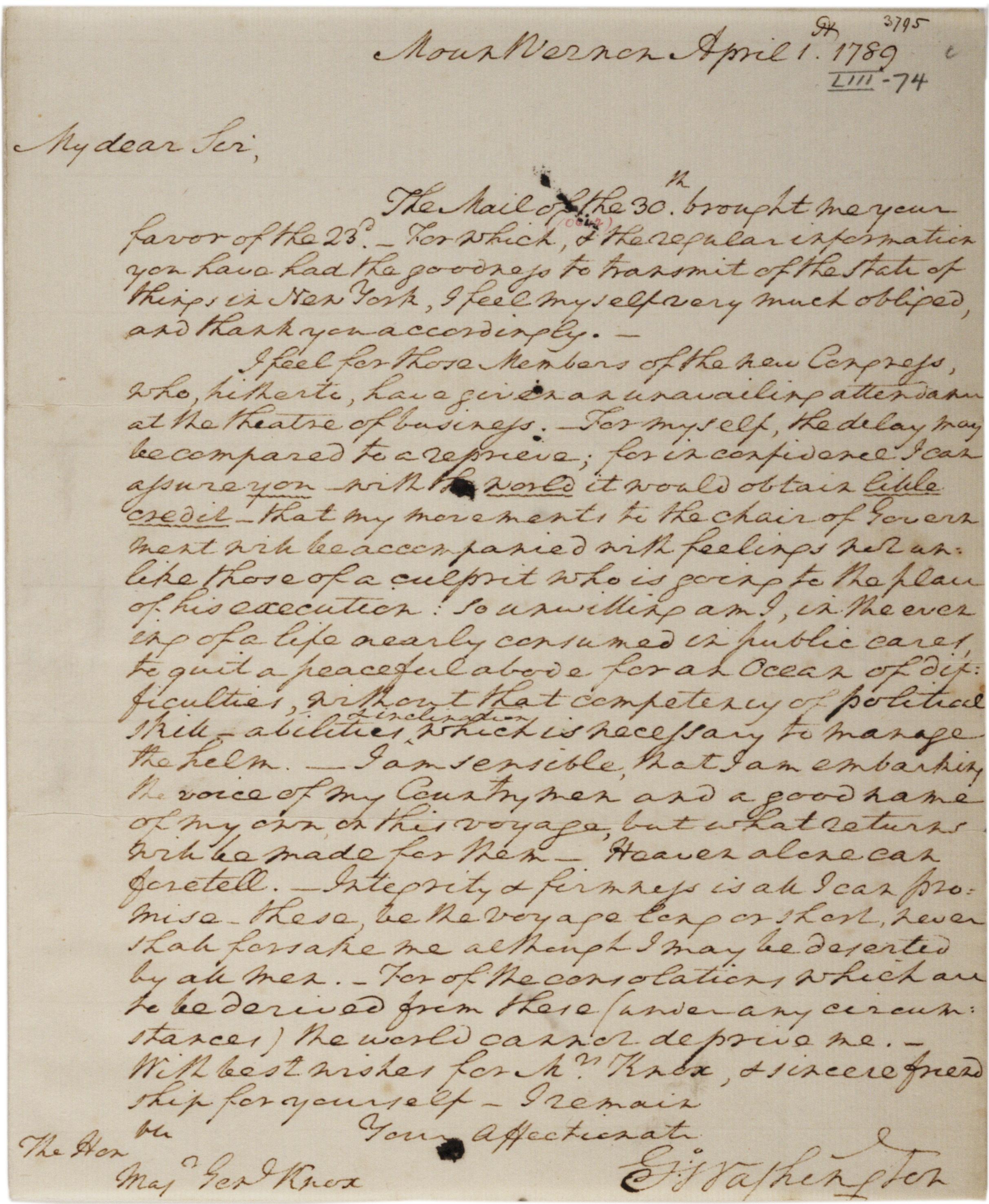 George Washington to Henry Knox, April 1, 1789. (GLC02437.09419)