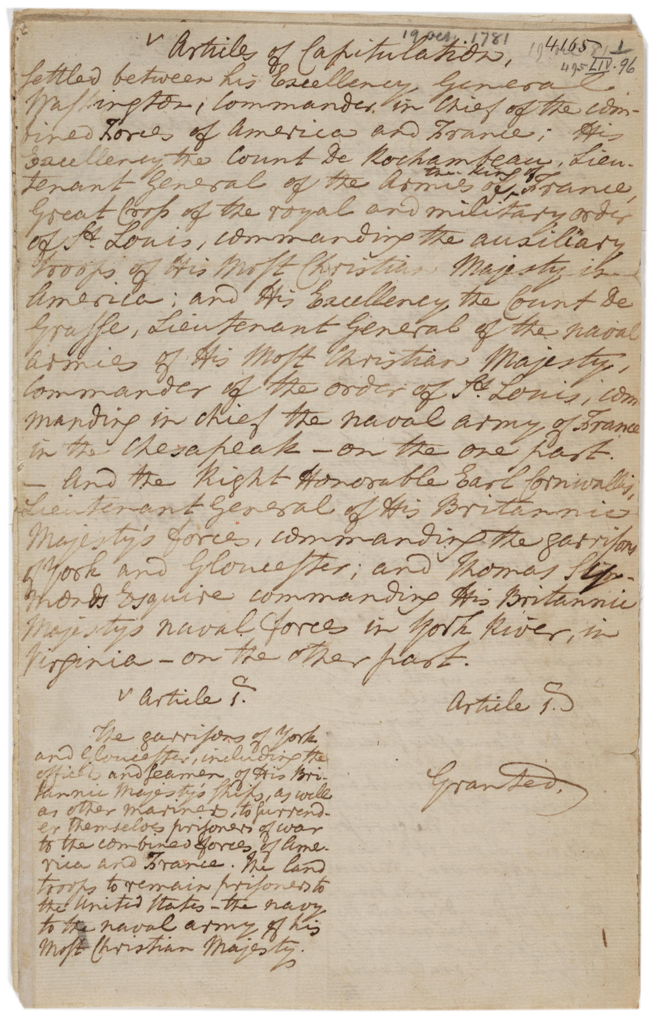Charles Cornwallis, Articles of capitulation settled at Yorktown, Oct. 19, 1781