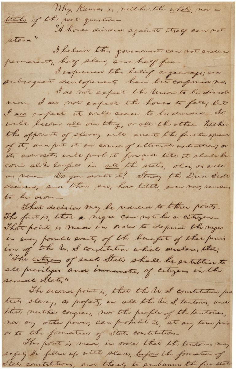 Amazing The House Divided Speech Ca 18571858 The Gilder Lehrman Hairstyles For Women Draintrainus