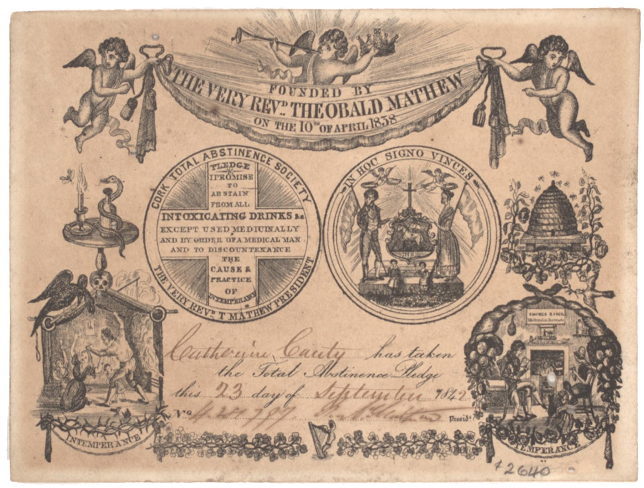 [Abstinence pledge card], September 23, 1842 (Gilder Lehrman Collection)