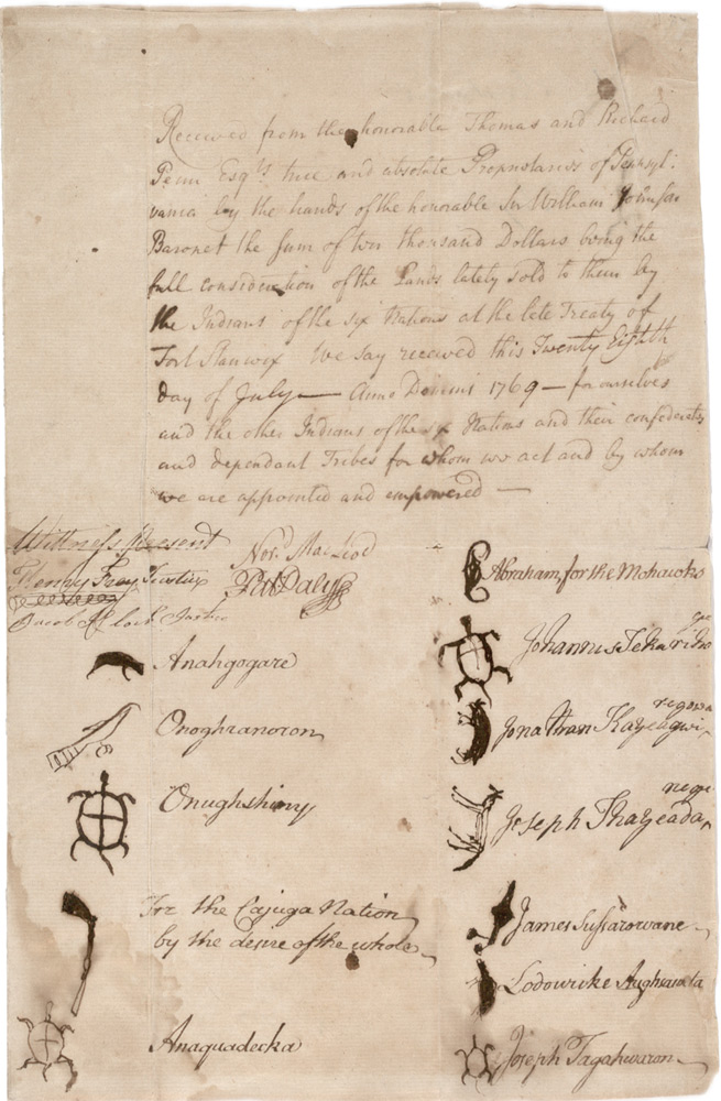 Receipt for land purchased from Six Nations by Pennsylvania, 1769. (GLC02548)