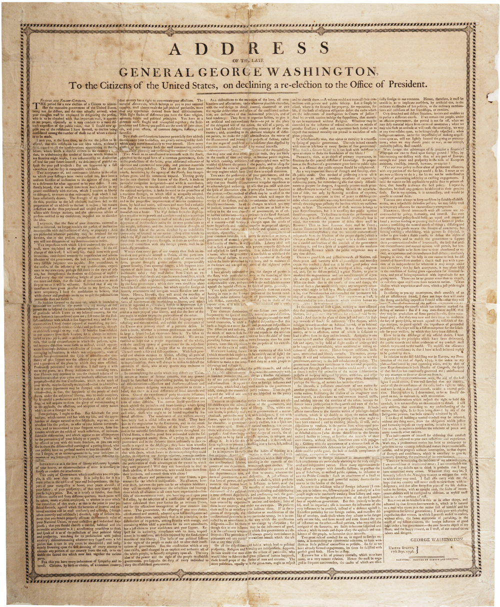 Washington's Farewell Address, Hartford, CT, [1800]. (GLC02557)