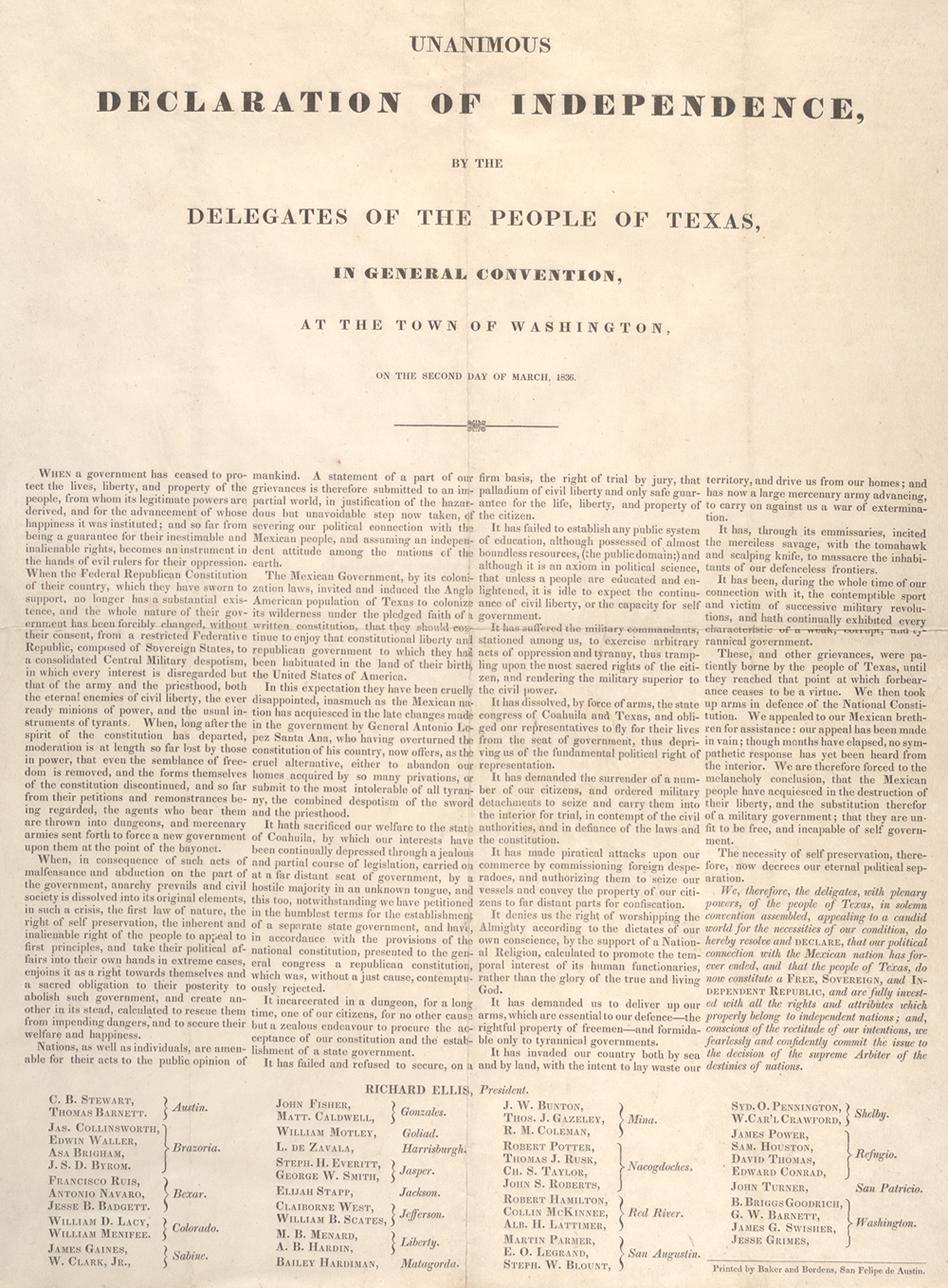 Texas Declaration Of Independence   Gilder Lehrman Institute  The Texas Declaration Of Independence Was Signed At  Washingtononthebrazos Now Commonly Referred To As The Birthplace Of  Texas