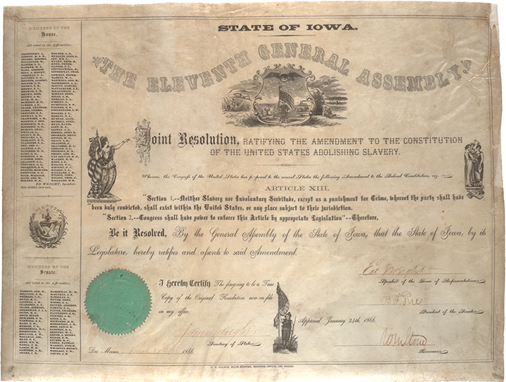 Iowa joint resolution ratifying the 13th Amendment, March 30, 1866. (GLC02631)