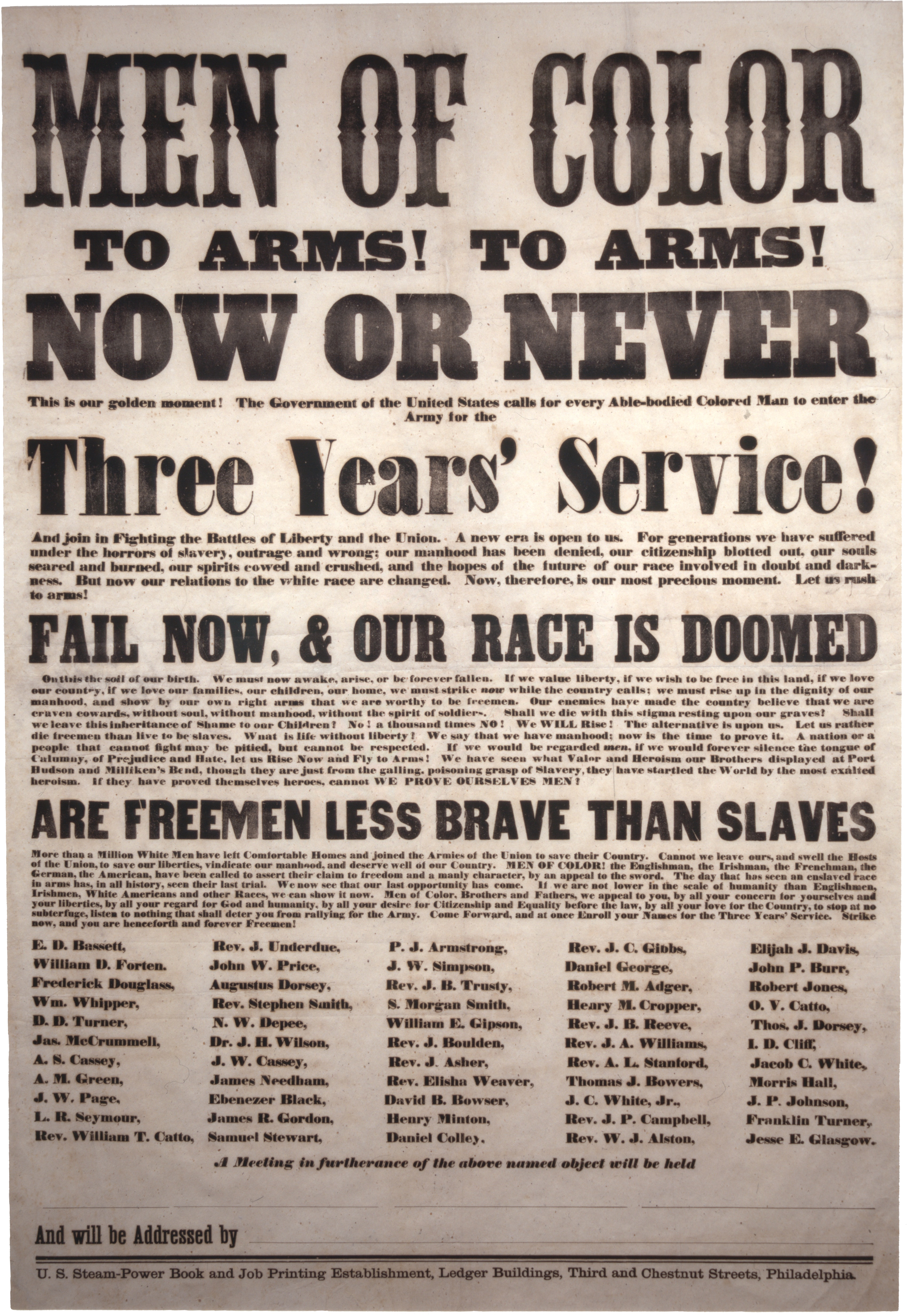 """""""Men of Color, to Arms! to Arms!"""" broadside, ca. 1863 (Private Collection)"""