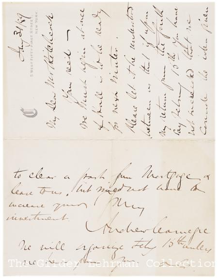 Andrew Carnegie to Hiram Hitchcock, January 31, 1889 (Gilder Lehrman Collection)