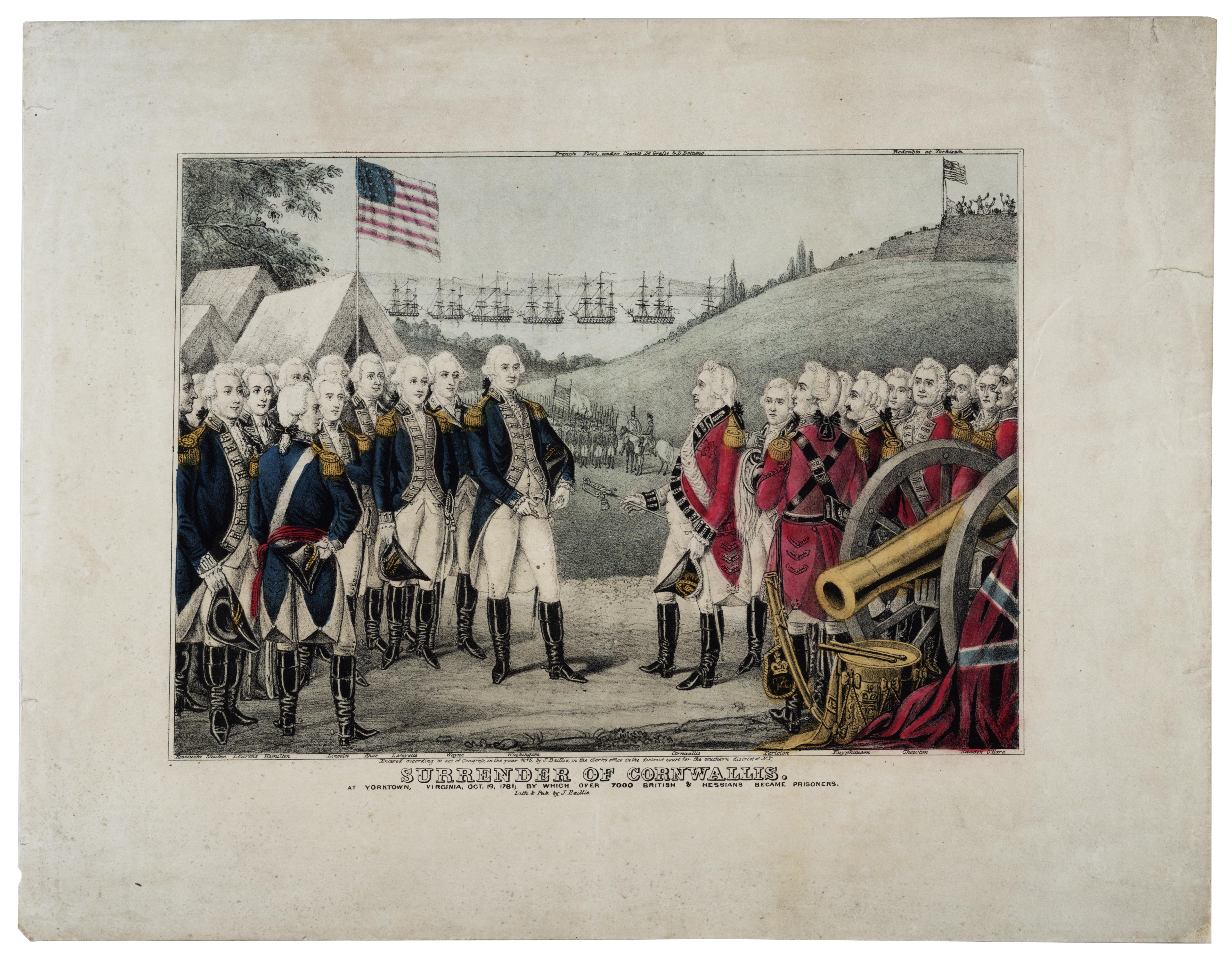 Surrender of Cornwallis, print by James S. Baillie, 1845 (Gilder Lehrman Col