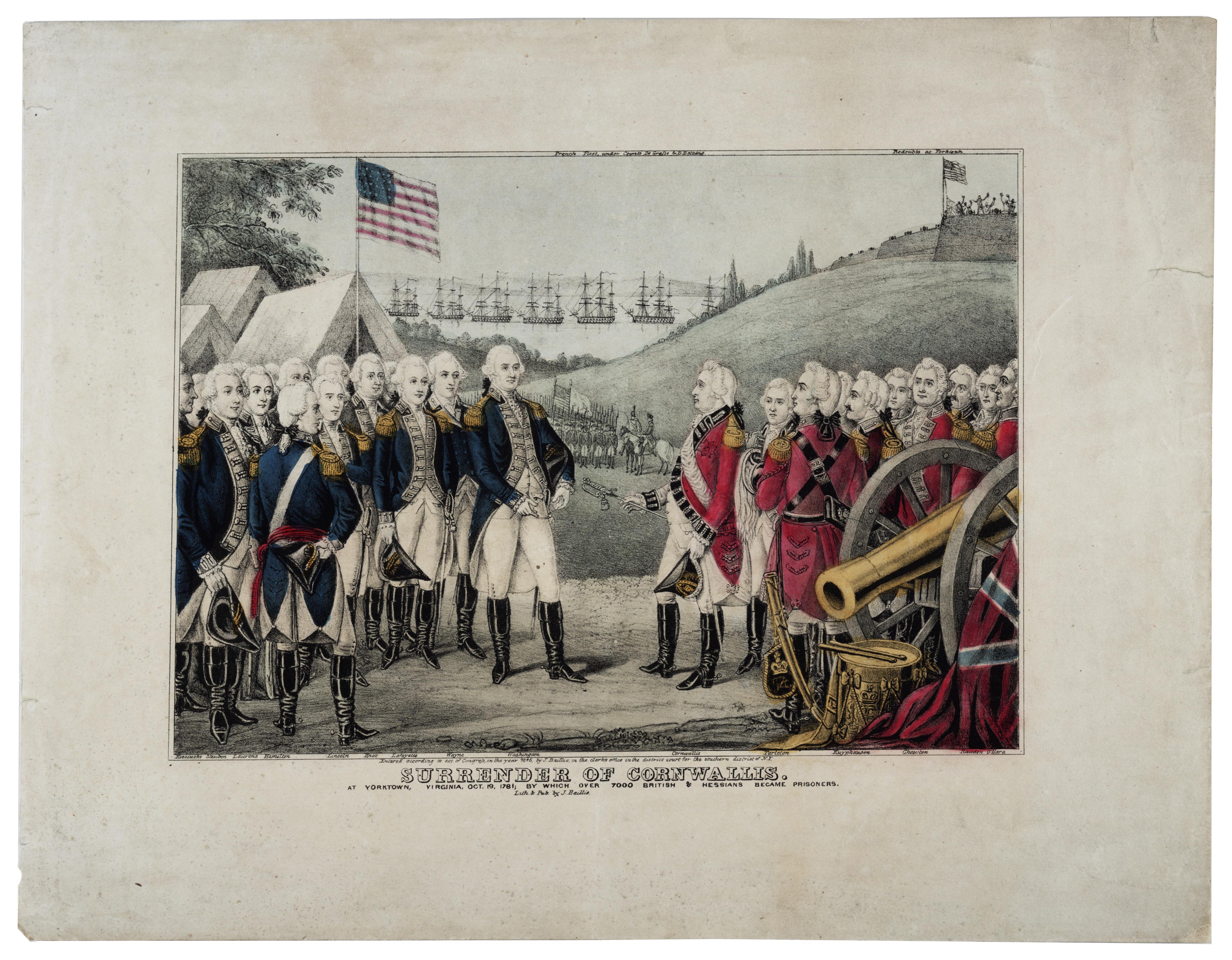 Surrender of Cornwallis, print by James S. Baillie, 1845 (Gilder Lehrman Col