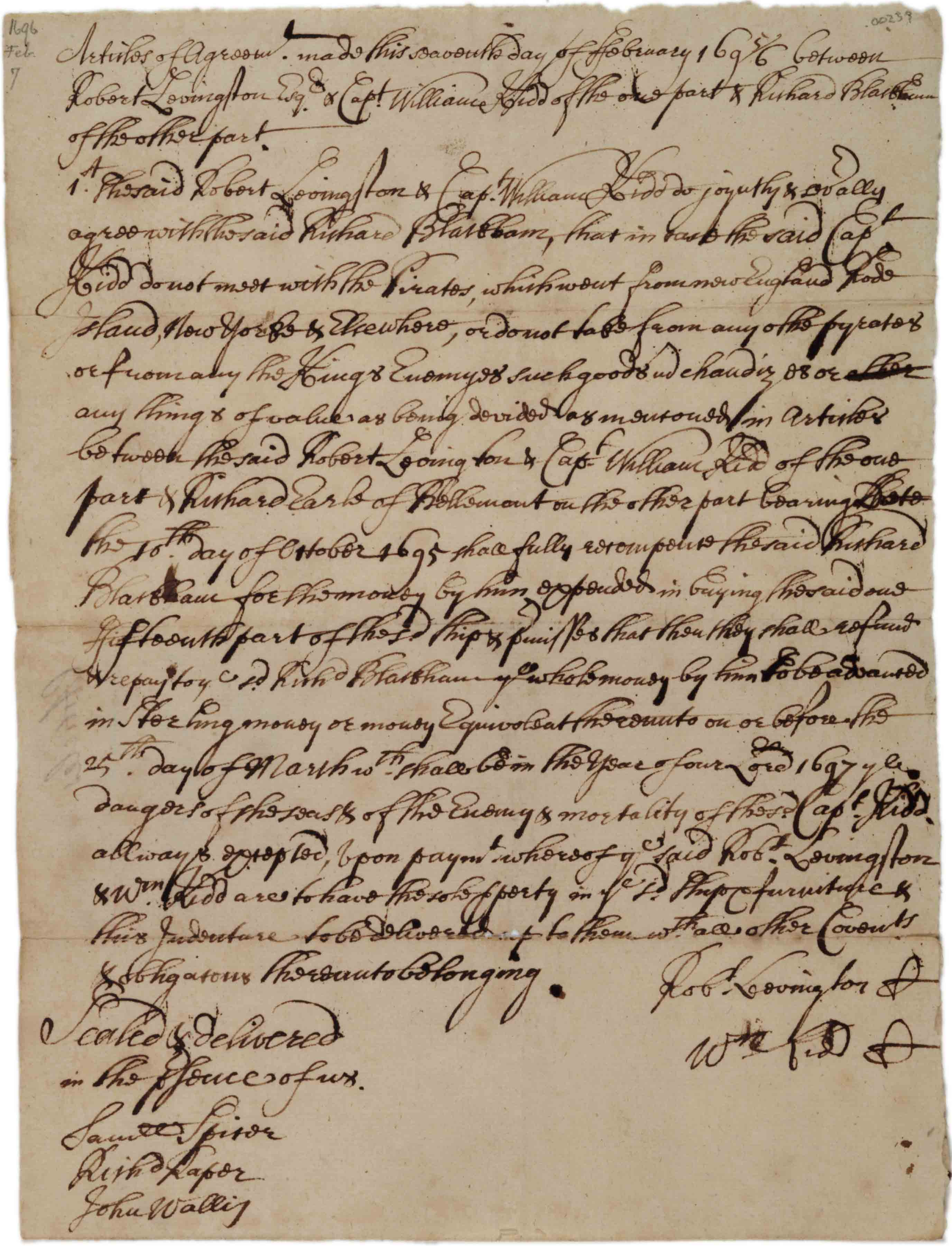 Agreement between Livingston and Kidd, and Blackham, 1696. (GLC)