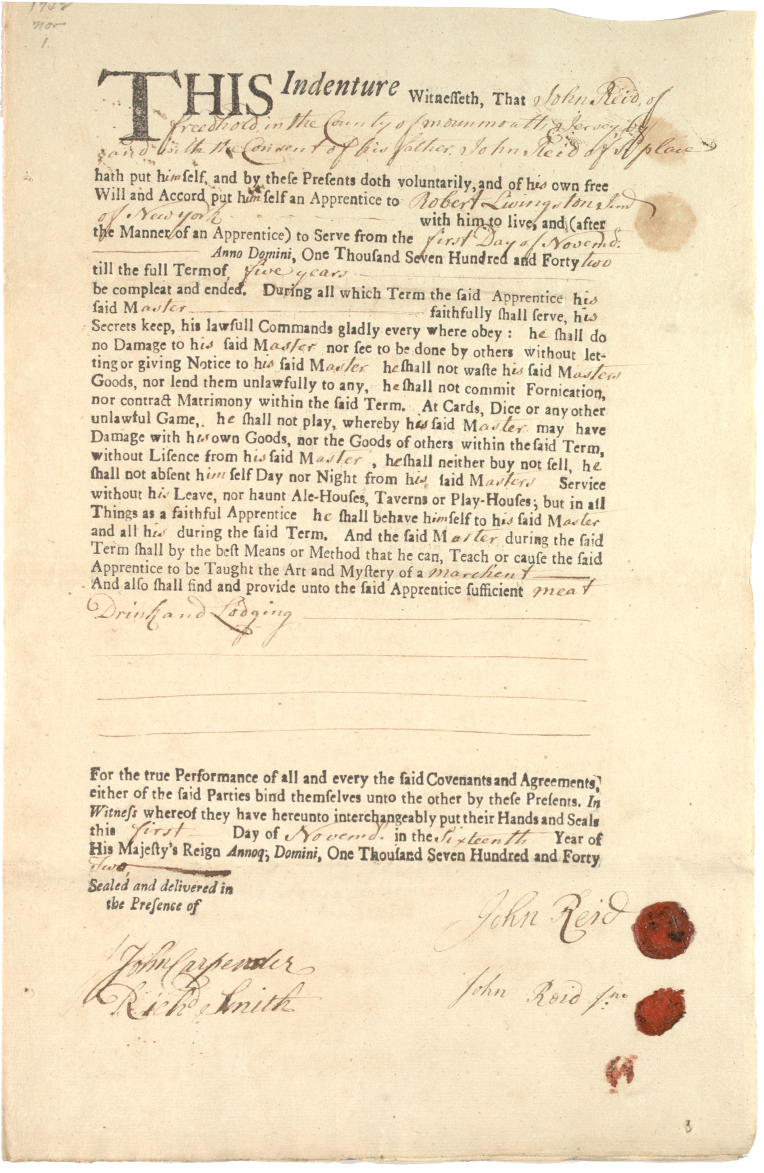 John Reid Jr., Indenture of apprenticeship with Robert Livingston Jr., 1742 (GLC