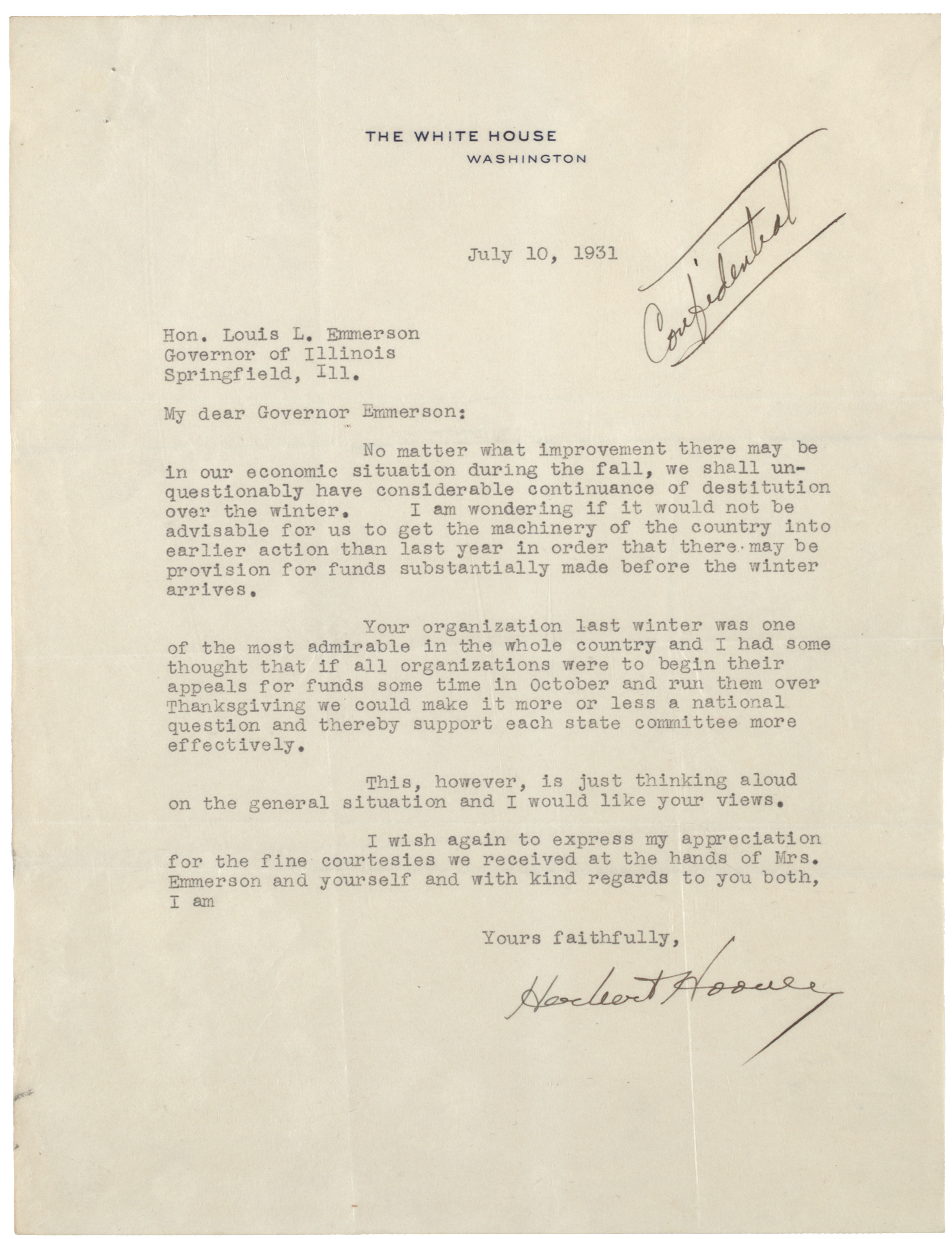 Herbert Hoover to Louis L. Emmerson, July 10, 1931. (Gilder Lehrman Collection)