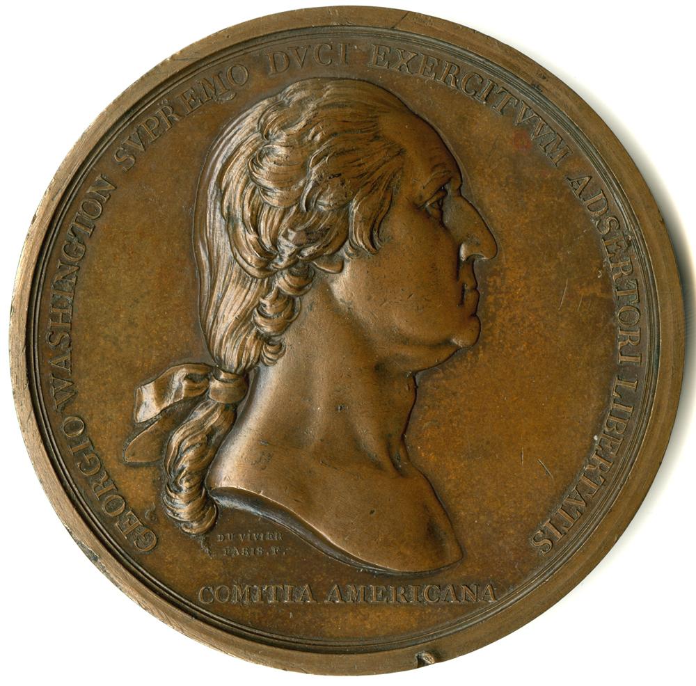 Benjamin Duvivier, George Washington before Boston, medal, ca. 1790 (GLC03221)