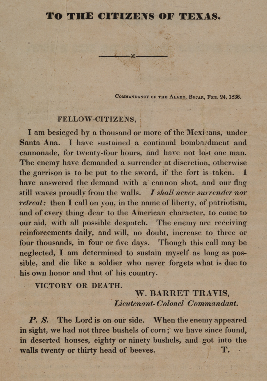 a plea to defend the alamo the gilder lehrman institute of william barret travis ldquoto the citizens of texas rdquo 24 1836