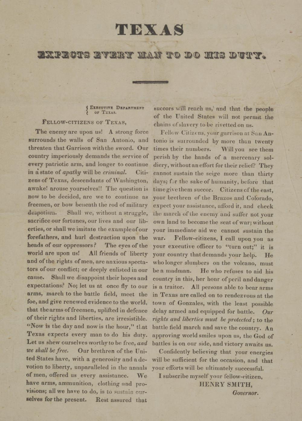 """Henry W. Smith, """"Texas Expects Every Man to Do His Duty,"""" February [28], 1836 (G"""